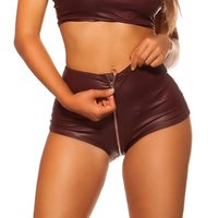 Womens wet look gogo hot pants with full-length zipper...