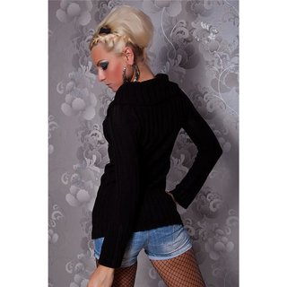 ELEGANT KNITTED SWEATER WITH SILVER PRINT BLACK