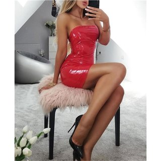 Trägerloses Bodycon Club Minikleid in Latex-Look Vinyl Rot 32 (XXS)