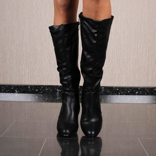 Womens faux leather boots with block heel black
