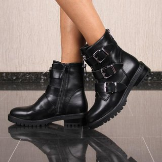 Flat women's ankle boots faux leather