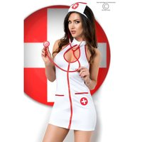 Sexy 5 pcs nurse outfit role play costume white/red UK...