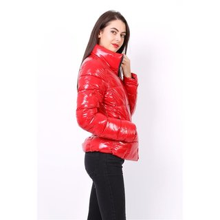 Shiny womens puffer jacket high necked red