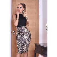 Ärmelloses Damen Business Kleid Animal-Print Schwarz/Leo