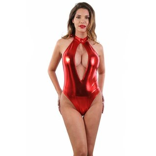 Sexy Neckholder-Body in Metallic-Look Gogo Clubwear Rot