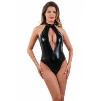 Sexy halterneck bodysuit in wet look gogo clubwear black...