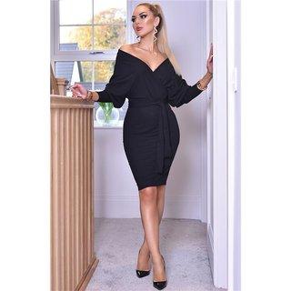 Knielanges Kleid Mit Fledermausarmeln Schwarz 34 95