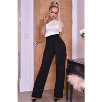 Womens one-shoulder jumpsuit with belt black/white UK 10 (S)