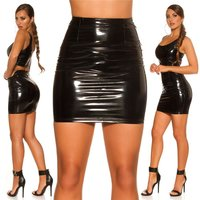 Skintight womens vinyl mini skirt latex look clubwear...