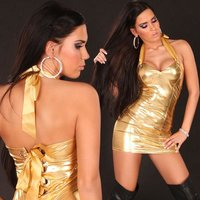 Sexy halterneck mini dress metallic look wet look gold