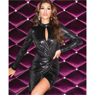 Damen Lederlook Lack Glanz Wetlook Kleid Bodycon Trägerkleid Partykleid Clubwear