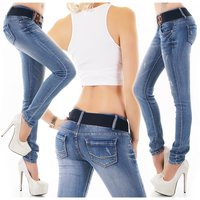Damen Used-Look Skinny Stretch Jeans inkl. Gürtel Blau