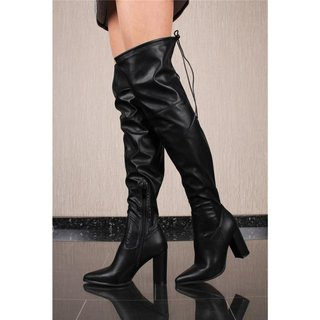Womens platform faux leather overknees with block heel black