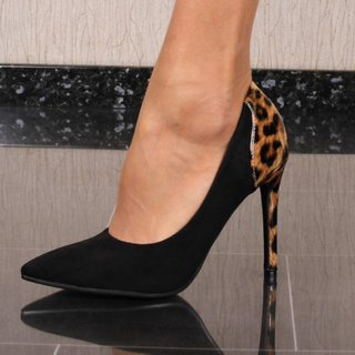 Damen Velours Pumps mit Animalprint Schwarz/Leopard