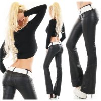 Damen Thermo Bootcut Jeans in Leder-Look inkl. Gürtel...