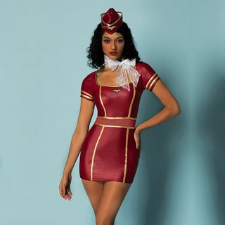 Sexy 4-tlg Damen Stewardess Kostüm Outfit Wetlook Bordeaux