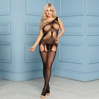 One-shoulder mesh bodystocking in garter look catsuit...
