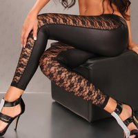 Sexy Glanz Leggings Wetlook mit transparenter Spitze...