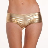 Sexy panty hot pants in metallic look clubwear gogo gold...