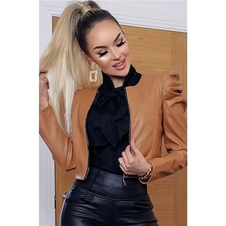 Women's faux leather jacket with puffy sleeves camel, 39,95 €