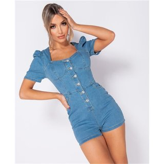 Sexy womens jeans playsuit with puffed sleeves blue