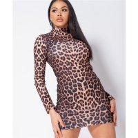 Sexy Damen Bodycon Party-Minikleid Animal-Print Leopard...