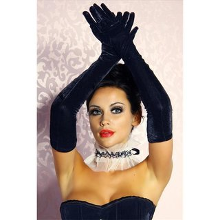 Elegant velvet gauntlets gloves black