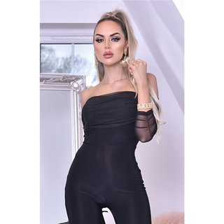Womens Bardot jumpsuit with long chiffon sleeves black