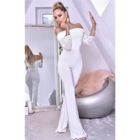 Womens Bardot jumpsuit with long chiffon sleeves creme-white