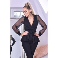 Womens puffed sleeve peplum shirt in wrap look black