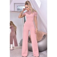Womens high neck jumpsuit with wide leg and lace antique...