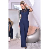 Womens high neck jumpsuit with wide leg and lace navy