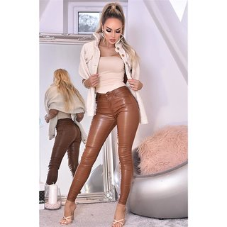 Womens  Leather Look Wet Look Trousers Ladies Slim Fit Jeans Size 6 8 10 12 14