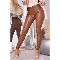 Skinny Damenhose in Leder-Optik Wetlook Camel