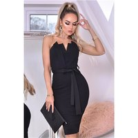 Strapless bandeau evening dress with belt black