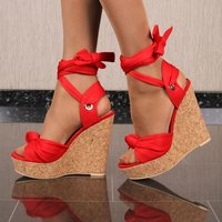 Sexy womens cork wedge sandals to tie red