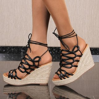 Sexy womens wedge sandals with bast heel black