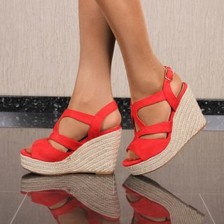 Womens platform sandals with bast wedge heel red