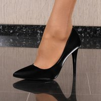 Sexy womens high heel court shoes glossy black
