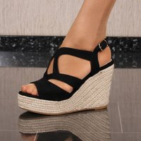 Womens platform sandals with bast wedge heel black UK 6,5