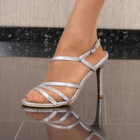 Sexy womens strappy sandals high heels silver