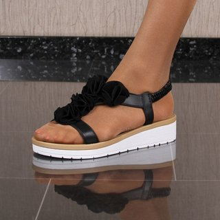 Flat womens strappy sandals with flowers black