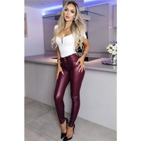 Skinny Damenhose in Leder-Optik Wetlook Bordeaux