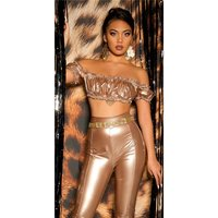 Sexy bauchfreies Damen Off-Shoulder Top in Latex-Look Gold