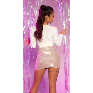 Sexy womens party mini skirt with glitter effect gold Onesize (UK 8,10,12)
