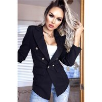 Elegant womens blazer jacket with buttons black
