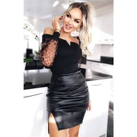 Sexy womens faux leather miniskirt with slit black