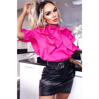 Sexy womens faux leather miniskirt with belt black