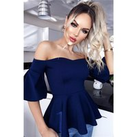 Womens puffed sleeve Bardot shirt with peplum navy UK 10 (S)