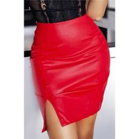 Sexy womens faux leather miniskirt with slit red UK 14 (L)